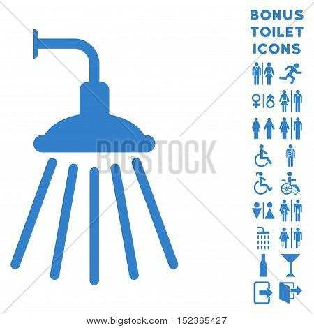 Shower icon and bonus gentleman and female WC symbols. Vector illustration style is flat iconic symbols, cobalt color, white background.