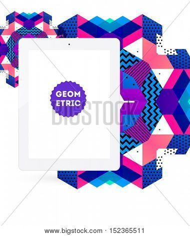 Tablet PC Icon with Geometric Background - Vector Illustration