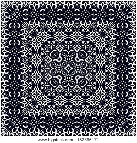 Square white pattern on a blue background. Decorative ornament to the handkerchief. Vector illustration.