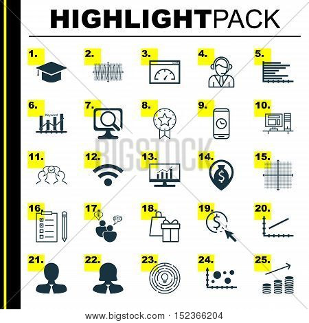Set Of 25 Universal Editable Icons For Human Resources, Education And Seo Topics. Includes Icons Suc