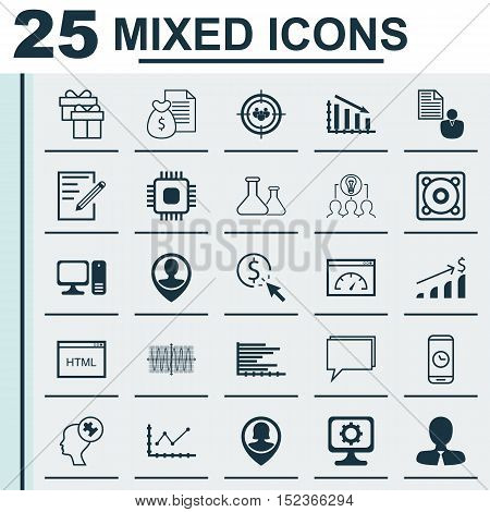 Set Of 25 Universal Editable Icons For Marketing, Education And Business Management Topics. Includes