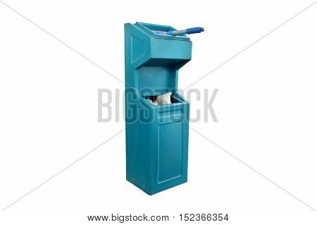 Blue plastic trash isolated on white background.