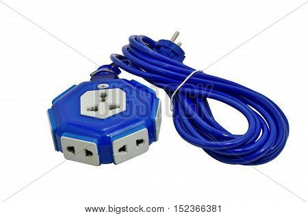 Blue outlet isolated on white. Great details.
