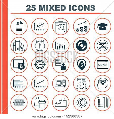 Set Of 25 Universal Editable Icons For Advertising, Seo And Travel Topics. Includes Icons Such As Ba