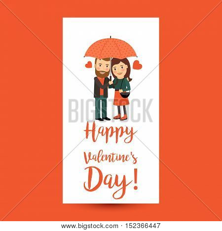 Happy Valentines Day vertical flyer, couple with umbrella vector illustration