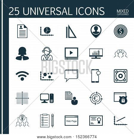 Set Of 25 Universal Editable Icons For Business Management, Airport And Marketing Topics. Includes I