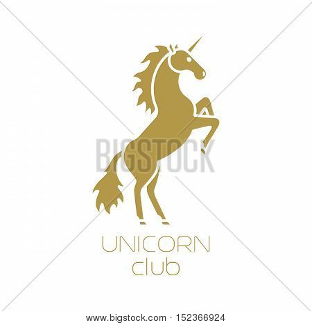 Unicorn club isolated logotype design on white background. Vector illstration