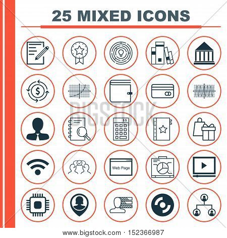 Set Of 25 Universal Editable Icons For Education, Marketing And Statistics Topics. Includes Icons Su