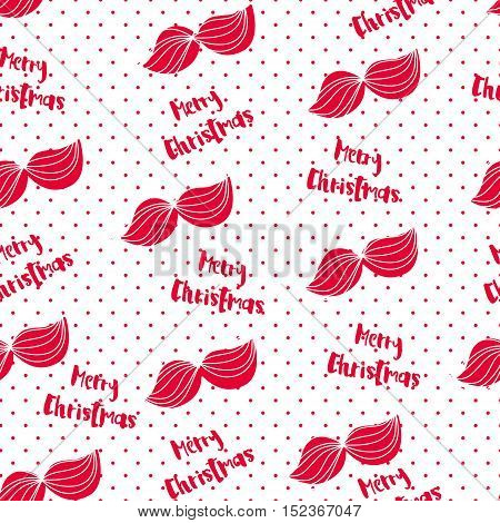 Merry Christmas pattern with  mustache and lettering text. Vector  background