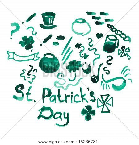 Vector watercolor set of hand drawn design elements for st patrick'€™s day materials such as poster, flyer, flag, greeting card, advertising merchandising in cartoon flat style. Saint Patrick Day symbols