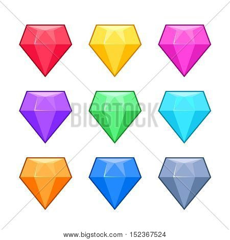Diamond crystal gems isolated on white cartoon vector set. Gemstone brilliant, glass precious jewelry illustration