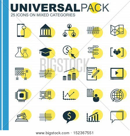 Set Of 25 Universal Editable Icons For Advertising, Computer Hardware And Project Management Topics.
