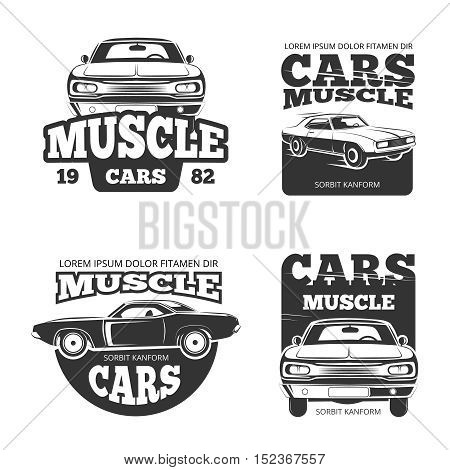 Classic muscle car vintage vector. Template of labels, logo, emblems, badges for garage and repair service engine illustration