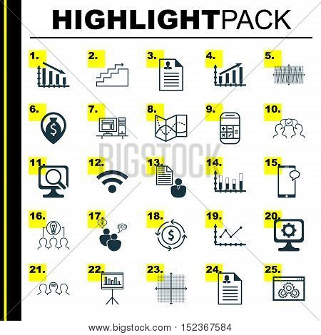 Set Of 25 Universal Editable Icons For Computer Hardware, Statistics And Human Resources Topics. Inc