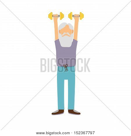 Vector Cartoon Active Old Man
