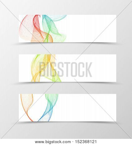 Set of banner wave design. Transparent banner for header in orange blue red green colors. Design of banner in spectrum style. Vector illustration