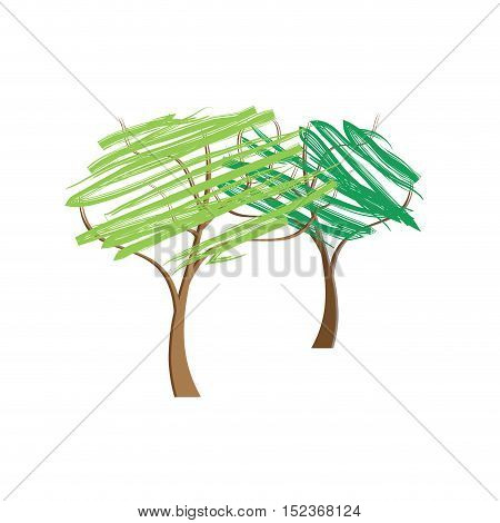 Vector sign abstract trees illustration isolated in white