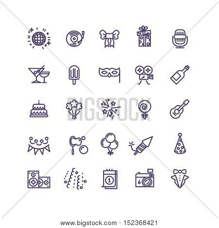 Birthday party celebration fun line vector icons. Gift and champagne, cocktail and cake to event birthday illustration