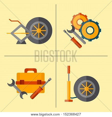 Vector Car Repair Cartoon Icon