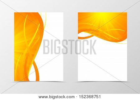 Flyer template wave design. Abstract flyer template in orange color with gold lines. Shiny spectrum flyer design. Vector illustration