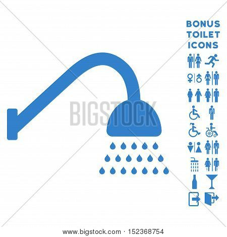 Shower icon and bonus male and female WC symbols. Vector illustration style is flat iconic symbols, cobalt color, white background.