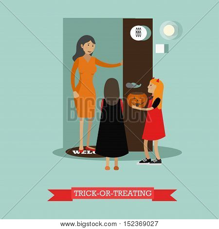 Kids playing trick or treat. Happy halloween holiday concept posters. Vector illustration in flat style design.