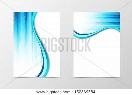 Flyer template wave design. Abstract flyer template in light blue color. Line spectrum flyer design. Vector illustration