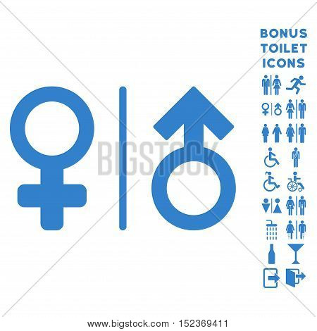 WC Gender Symbols icon and bonus gentleman and woman WC symbols. Vector illustration style is flat iconic symbols, cobalt color, white background.