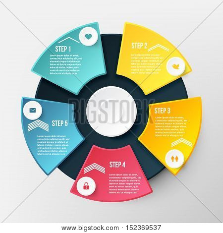 Vector Infographic Circle Template. Concept for Business with Five Options Steps Parts. Diagram Banner for Cycling Chart Pie Chart Business Presentation Annual Report Web Design