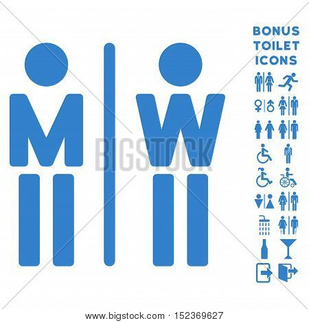 WC Persons icon and bonus man and lady restroom symbols. Vector illustration style is flat iconic symbols, cobalt color, white background.