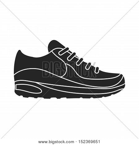 Sneakers icon in  black style isolated on white background. Shoes symbol vector illustration.