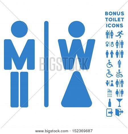 WC Persons icon and bonus man and woman toilet symbols. Vector illustration style is flat iconic symbols, cobalt color, white background.