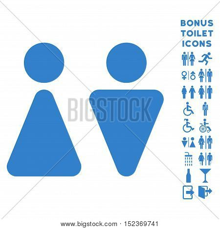 WC Persons icon and bonus male and lady lavatory symbols. Vector illustration style is flat iconic symbols, cobalt color, white background.