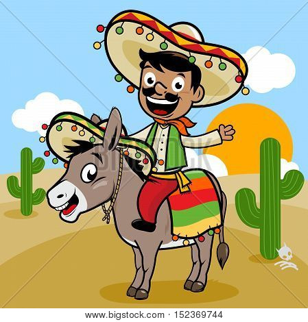 Mexican man wearing a traditional costume and sombrero riding a donkey in the desert. Vector illustration