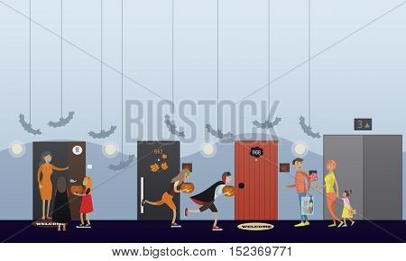 Kids playing trick or treat. Happy halloween holiday party concept banner. Vector illustration in flat style design.