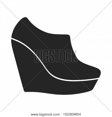 Wedge booties icon in  black style isolated on white background. Shoes symbol vector illustration.