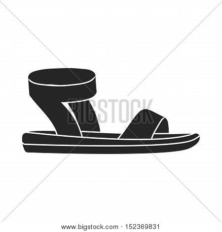 Woman sandals icon in  black style isolated on white background. Shoes symbol vector illustration.