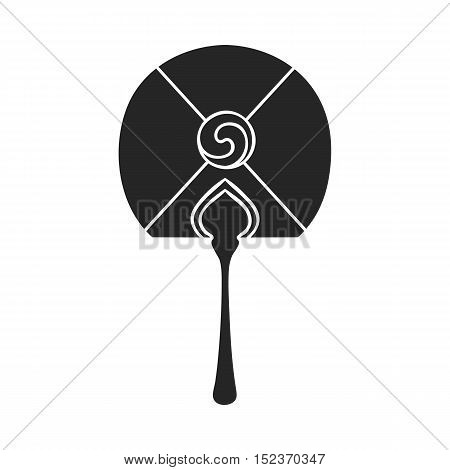 Korean hand fan icon in  black style isolated on white background. South Korea symbol vector illustration.