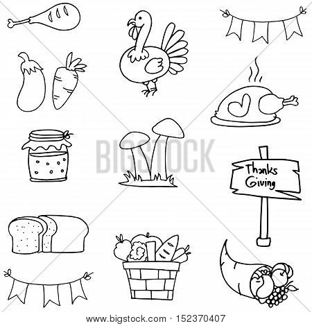 Doodle of thanksgiving object collection vector illustration