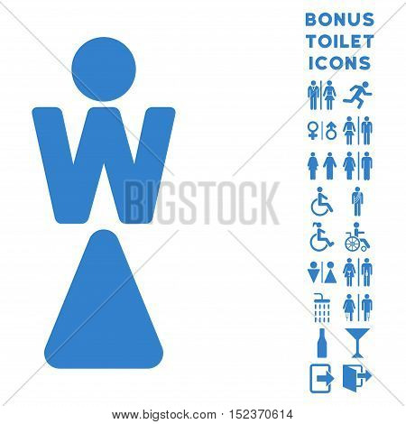 Woman icon and bonus man and woman restroom symbols. Vector illustration style is flat iconic symbols, cobalt color, white background.