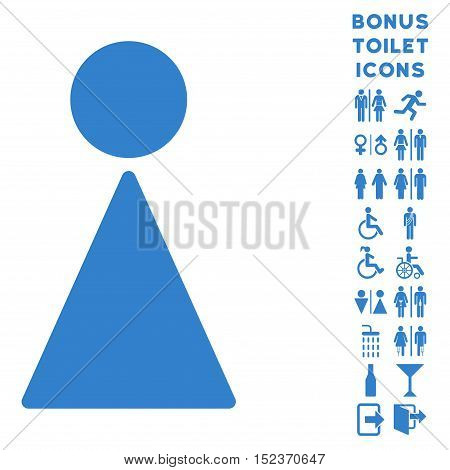 Woman icon and bonus gentleman and woman toilet symbols. Vector illustration style is flat iconic symbols, cobalt color, white background.