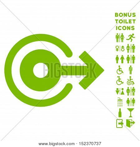 Log Out icon and bonus male and female toilet symbols. Vector illustration style is flat iconic symbols, eco green color, white background.