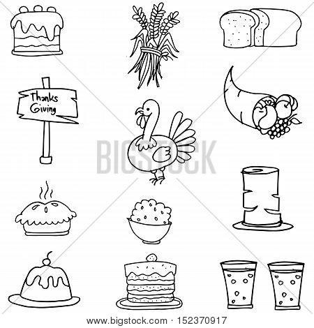 Doodle of element thanksgiving set vector art