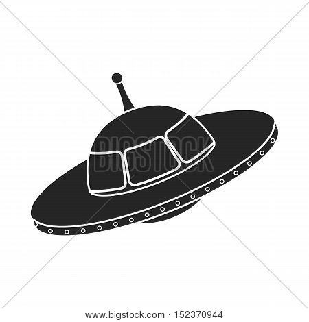 UFO icon in  black style isolated on white background. Space symbol vector illustration.