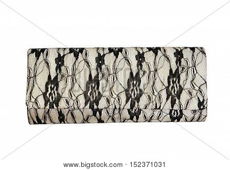 Female lacy bag clutch on a white background