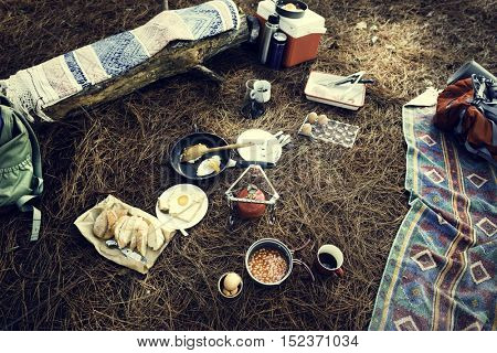 Hiking Camping Food Outdoor Concept