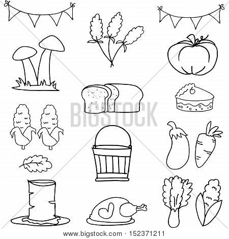 Doodle of thanksgiving hand draw set vector illustration