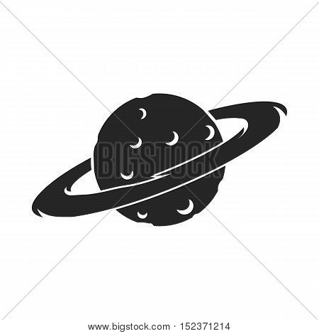 Saturn icon in  black style isolated on white background. Space symbol vector illustration.