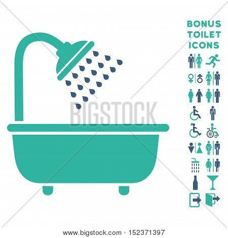 Bath Shower icon and bonus male and lady WC symbols. Vector illustration style is flat iconic bicolor symbols, cobalt and cyan colors, white background.