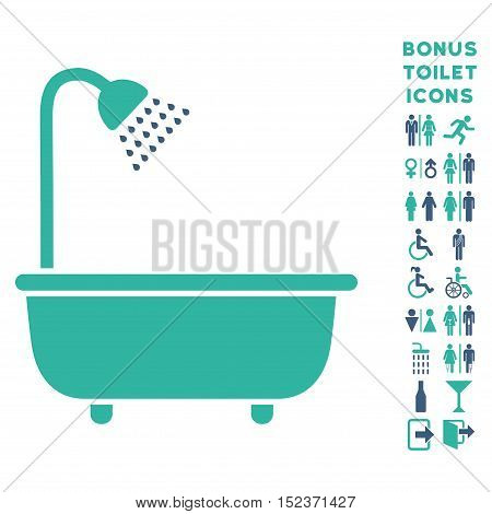 Bath Shower icon and bonus gentleman and female restroom symbols. Vector illustration style is flat iconic bicolor symbols, cobalt and cyan colors, white background.